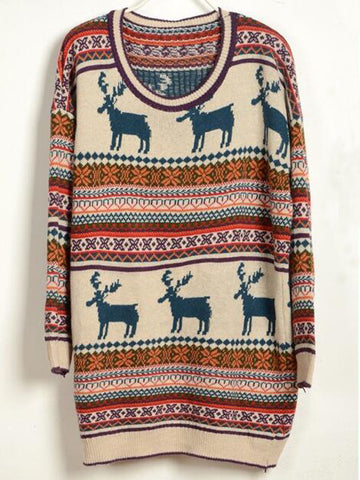 Deer Print Christmas Sweater - FIREVOGUE