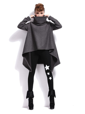 Something More Irregular Cut Turtleneck Sweatshirt