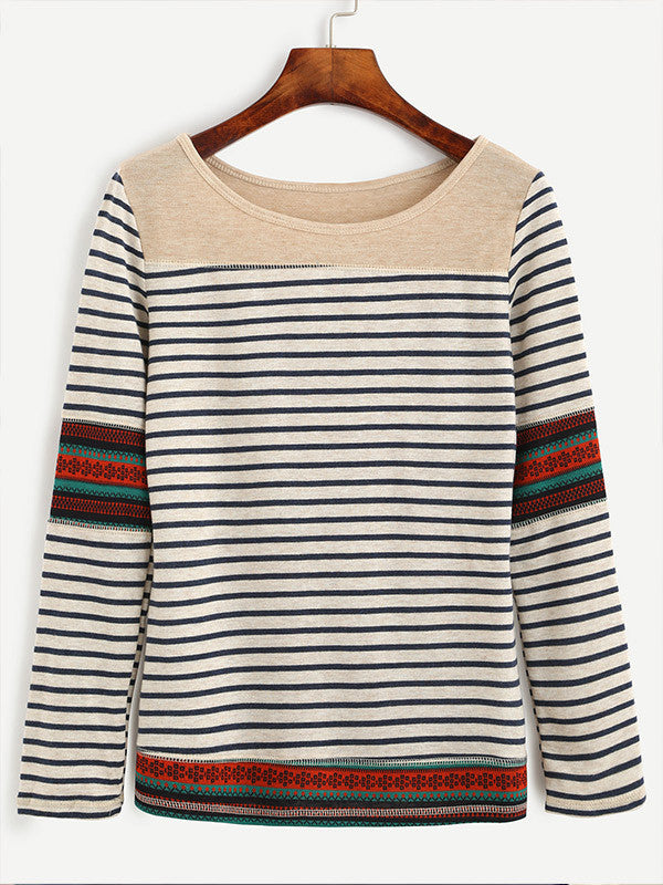 Cheers Striped Printed Sleeve Top - FIREVOGUE