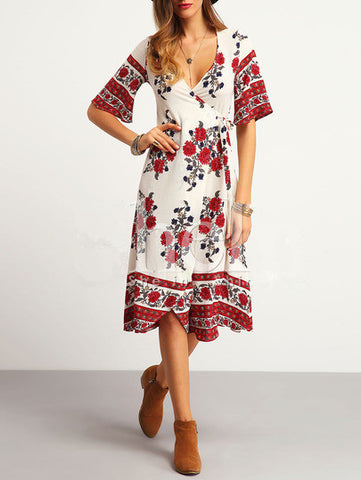 Dream Floral Plunging Dress - FIREVOGUE