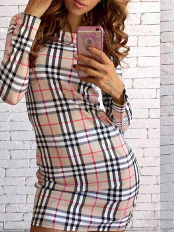 Plaid Palace Bodycon Dress - FIREVOGUE