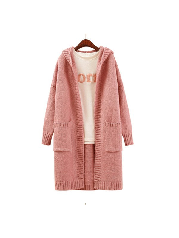 Pure And Simple Open Front Knitted Hoodie