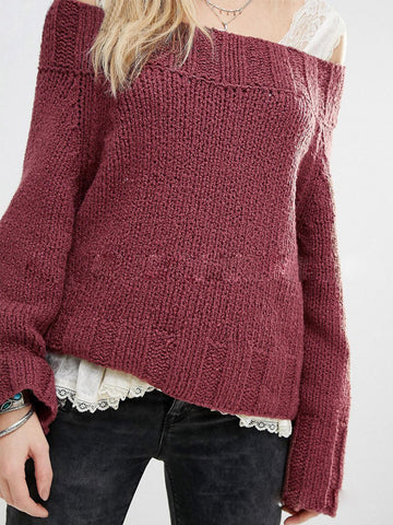 Off-the-shoulder Knitted Sweater - FIREVOGUE
