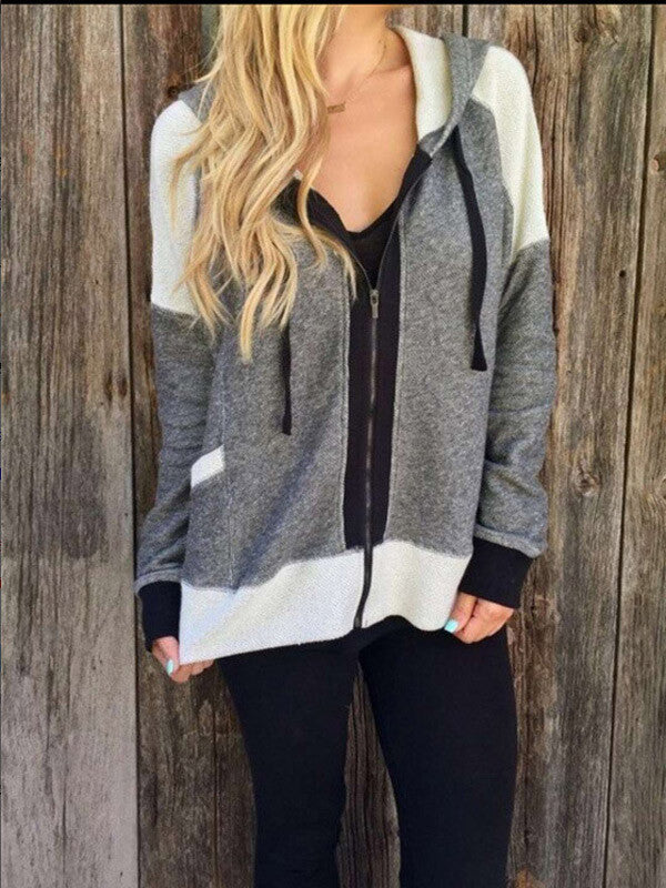 Grey Casual Hooded Outerwear - FIREVOGUE