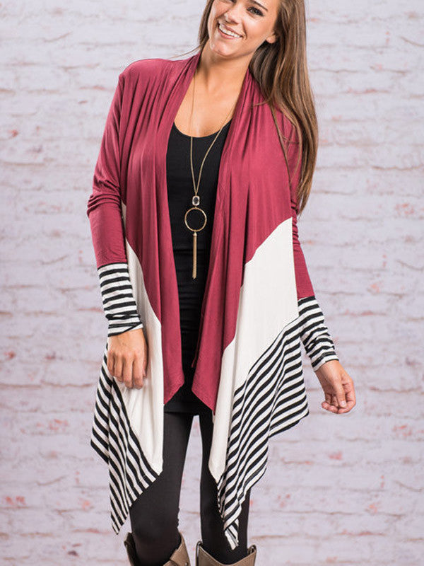 Fashion Striped Asymmetric Open Front Top - FIREVOGUE