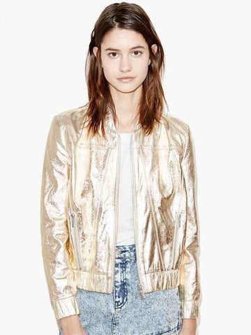 Golden Metallic Short Baseball Jacket