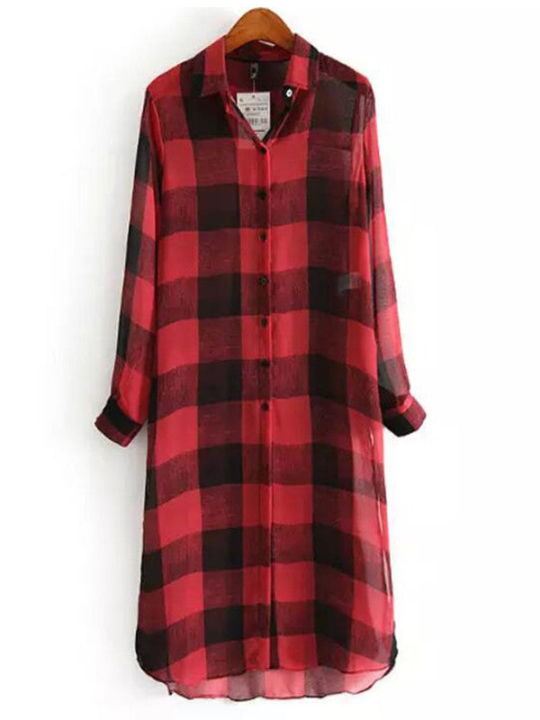 Great Lengths Plaid Maxi Shirt