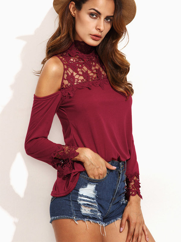 Overheated Off-the-Shoulder Lace Top - FIREVOGUE