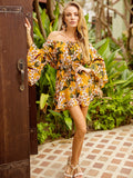 Off-the-Shoulder Half Sleeve Drawstring Floral Dress