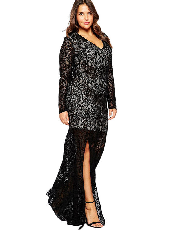 Plus Size Lace Long Evening Dress