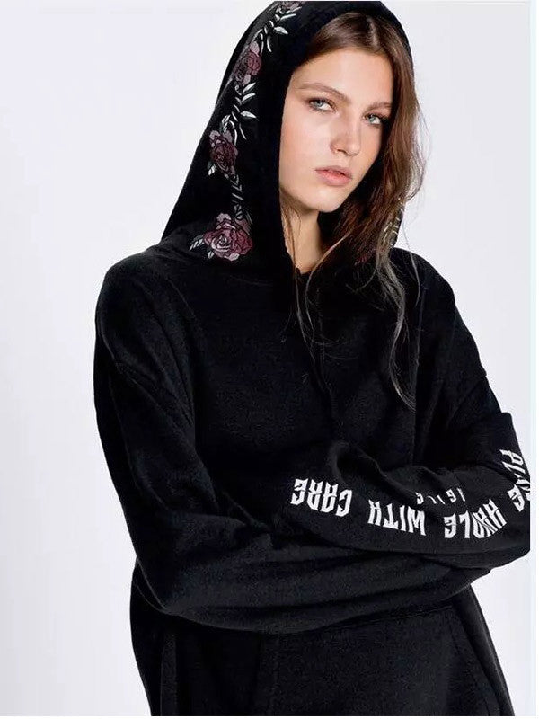 Black Embroidered Hooded Sweatshirt - FIREVOGUE