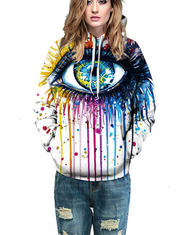 Multi-colored Big Eyes Hooded Sweatshirt - FIREVOGUE