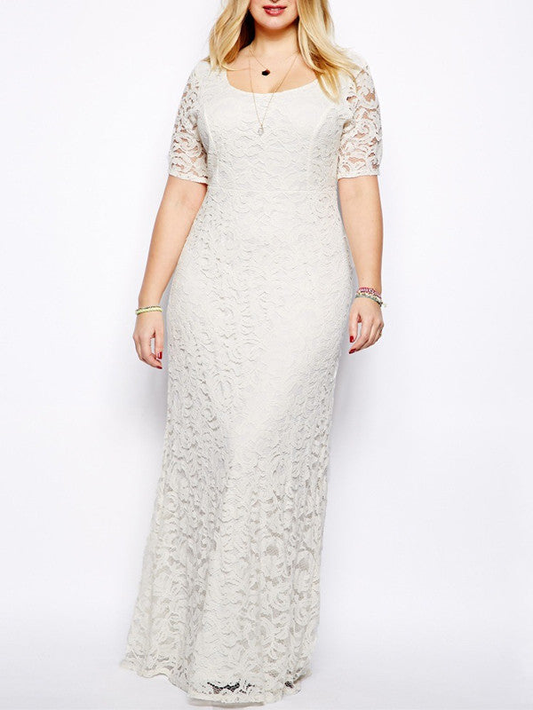 Plus Size Lace Chiffon Elegance Long Dress - FIREVOGUE