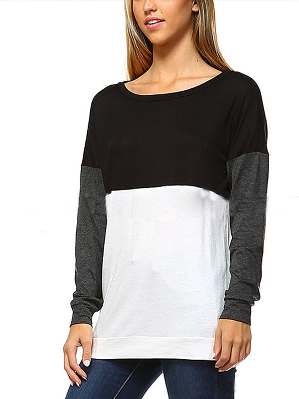 Black/Grey/White Long Sleeve Shirt - FIREVOGUE