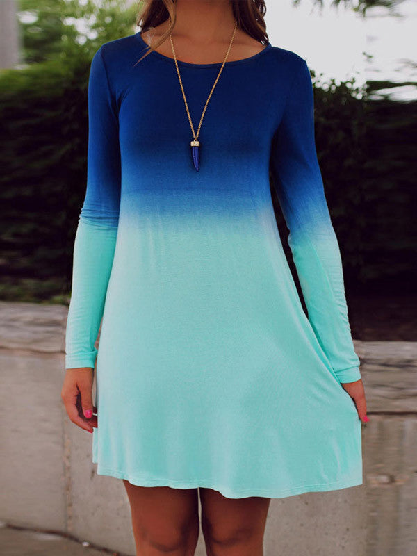 Blue Gradient Color Tee Dress - FIREVOGUE