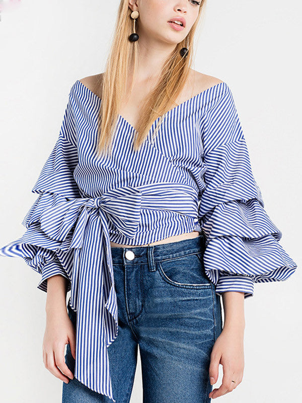 Show Off Your Shoulder Bell Sleeve Top - FIREVOGUE
