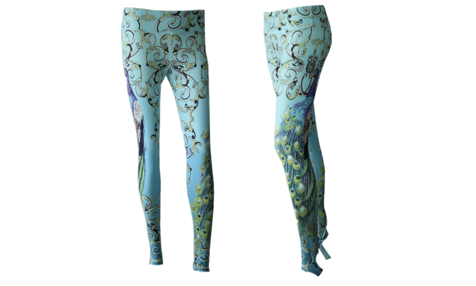 My Love Peacock Printed Yoga Leggings with Foot Straps - FIREVOGUE