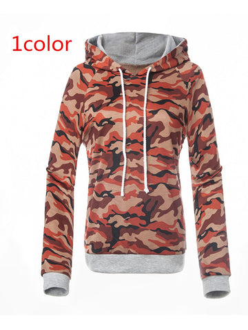 Camouflage Print Multi-colored Hooded Sweatshirt - FIREVOGUE