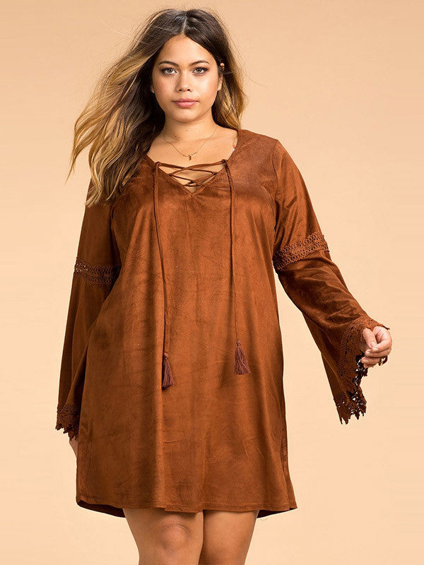 Plus Size Lace-Up Loose Dress - FIREVOGUE