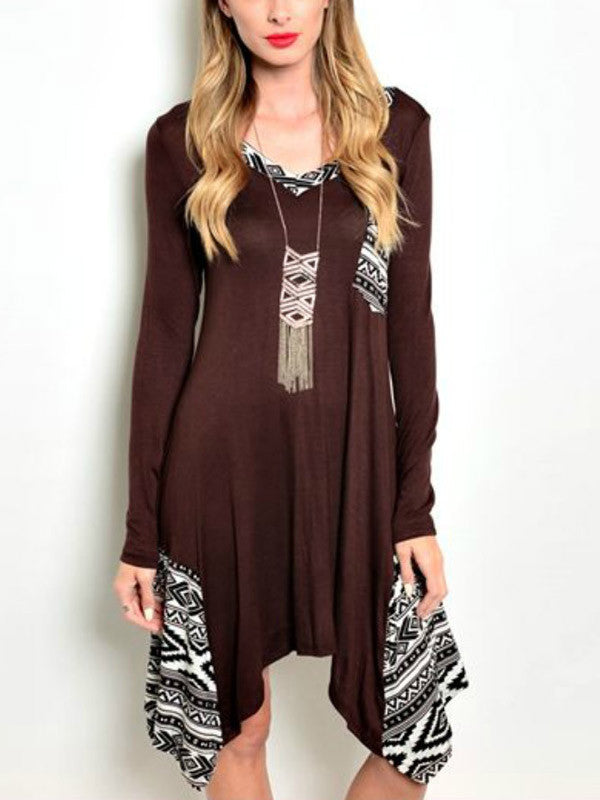 Brown Printed Asymmetric Dress - FIREVOGUE