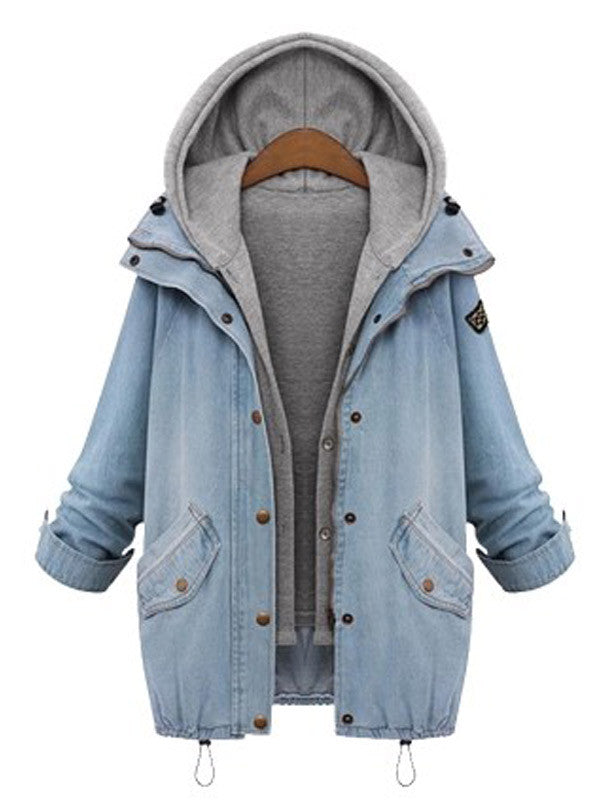 Oversized Hooded Denim Outerwear - FIREVOGUE