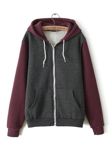 Multi-colored Zip Hooded Sweatshirt