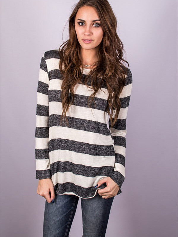 Casual Long Sleeve Back Button Striped T-shirt - WealFeel