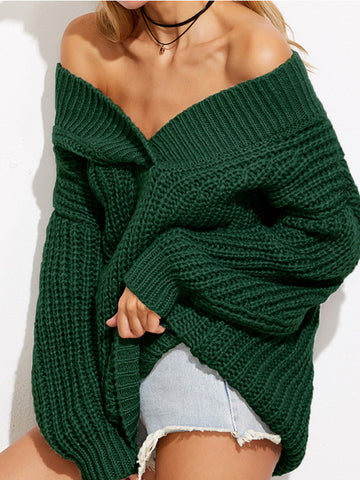 Hang in There Off-the-Shoulder Sweater - FIREVOGUE