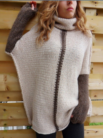 Mixed Color Turtle Neck Loose Sweater