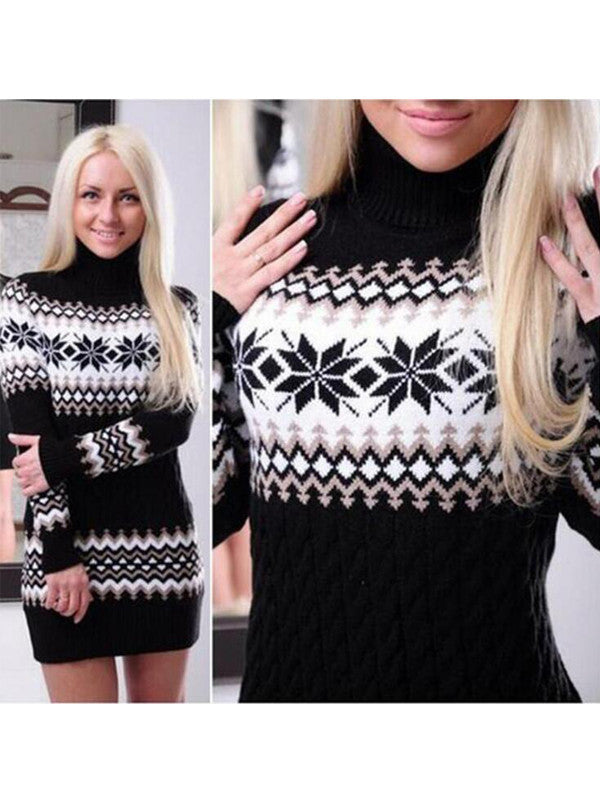 Christmas Snow Love Sweater Dress - FIREVOGUE