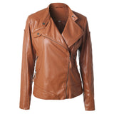Diagonal Zip Up Front Leather Jacket - FIREVOGUE