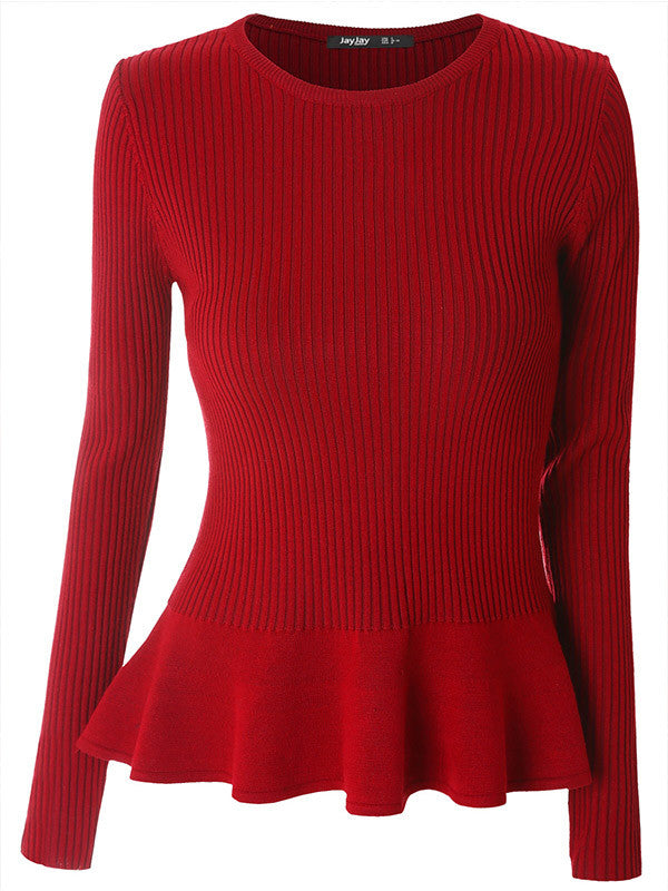 Solid Color Ruffle Knitted Top - FIREVOGUE