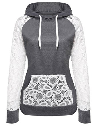 Gray Day Needed Sweatshirt Hoodie With Lace Pocket&Sleeves