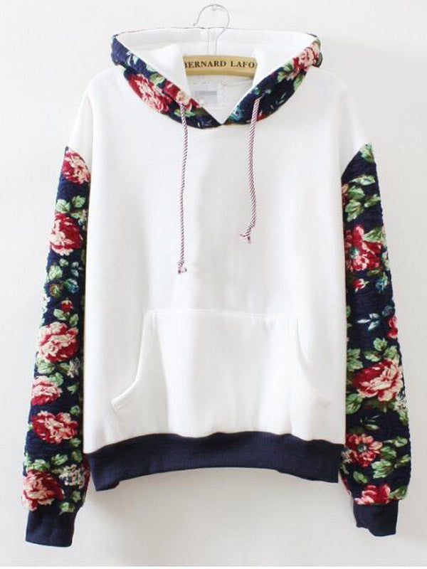 Who Rose There Floral Hoodie - FIREVOGUE
