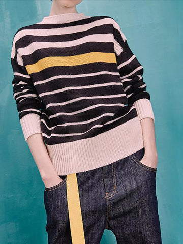 Stripe Place Stripe Time Acrylic Sweater - FIREVOGUE