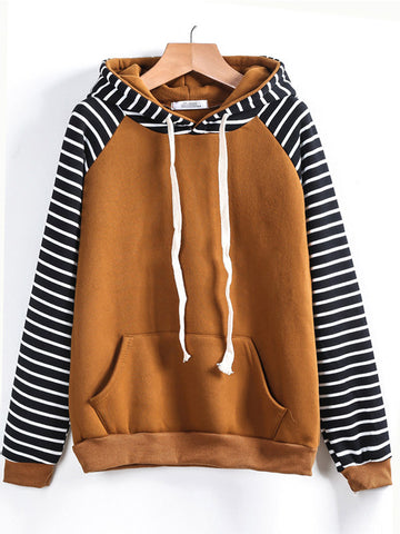 Yellow Striped Hooded Sweatshirt