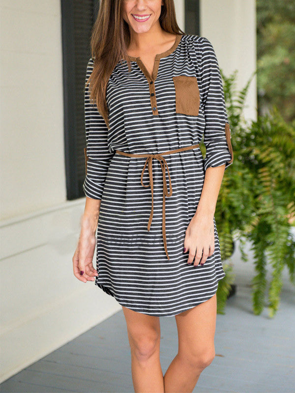 Striped Lace-up Button Dress - FIREVOGUE