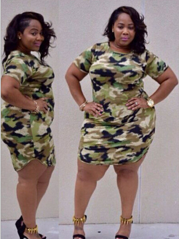 Plus Size Camouflage Color Dress