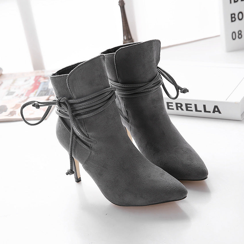 Long Way To Go Side Lace-up High Heel Ankle Boots