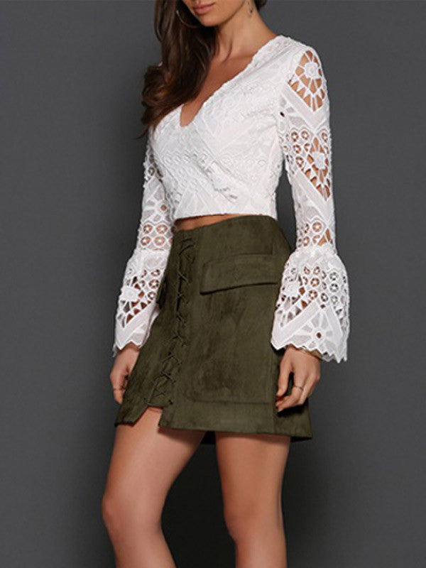Faux Suede Lace-up Mini Skirt - FIREVOGUE