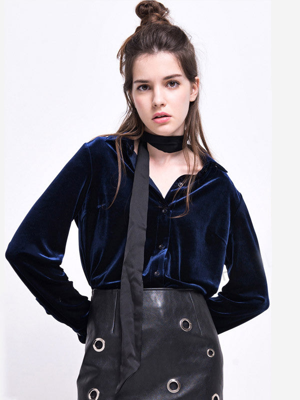 Dark Blue Velvet Loose Blouse - FIREVOGUE