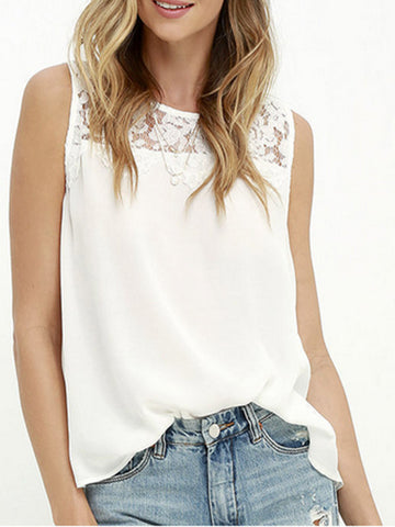 Lace It Better Sleeveless Top - FIREVOGUE