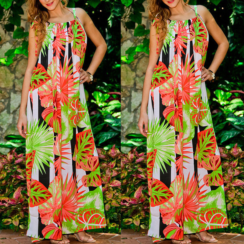 Bright of Way Boho Chic Halter Maxi Dress