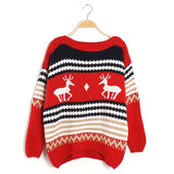 My Sweetheart Round Collar Deer Print Sweater - FIREVOGUE
