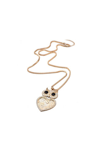 Perhaps Love Heart-shaped Owl Necklace