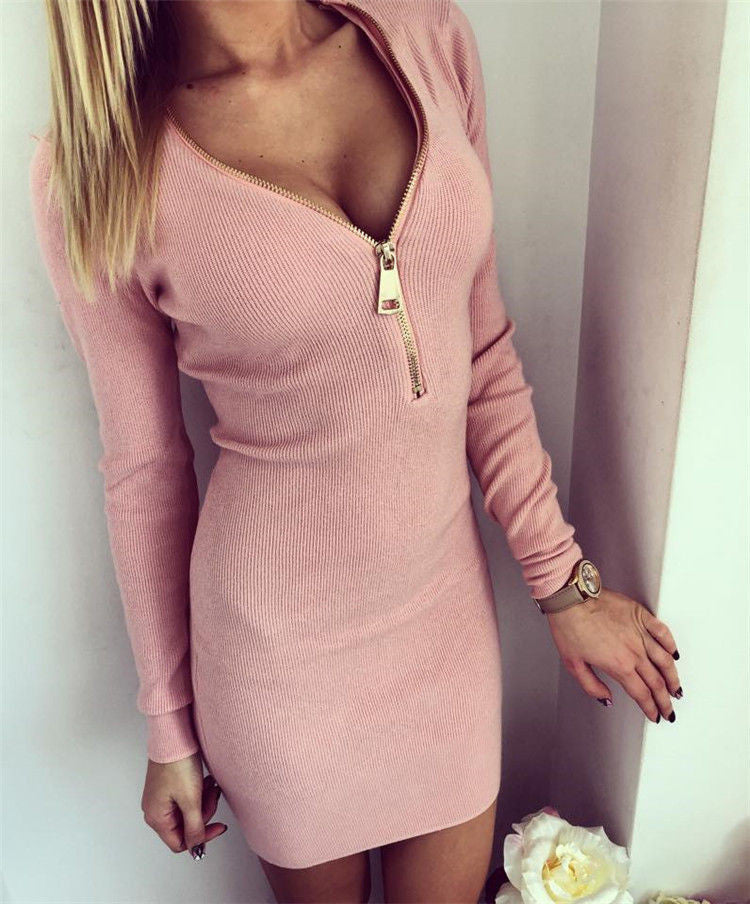 Zip Neck Bodycon Dress