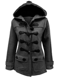 Horn Button Hooded Coat - FIREVOGUE