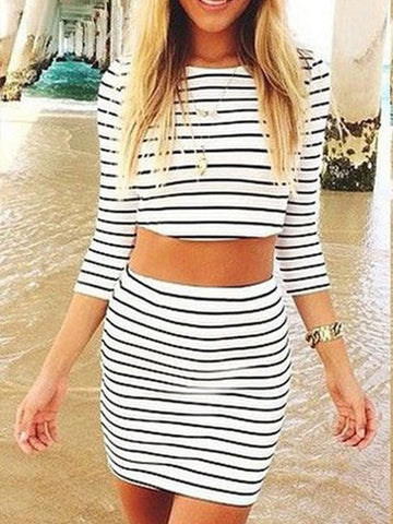 Need You Now Striped Top&Skirt