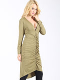 Ruche Hour Plunging Dress - FIREVOGUE