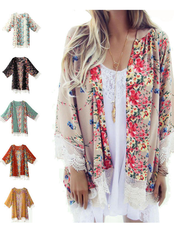 Open Front Floral Chiffon Top